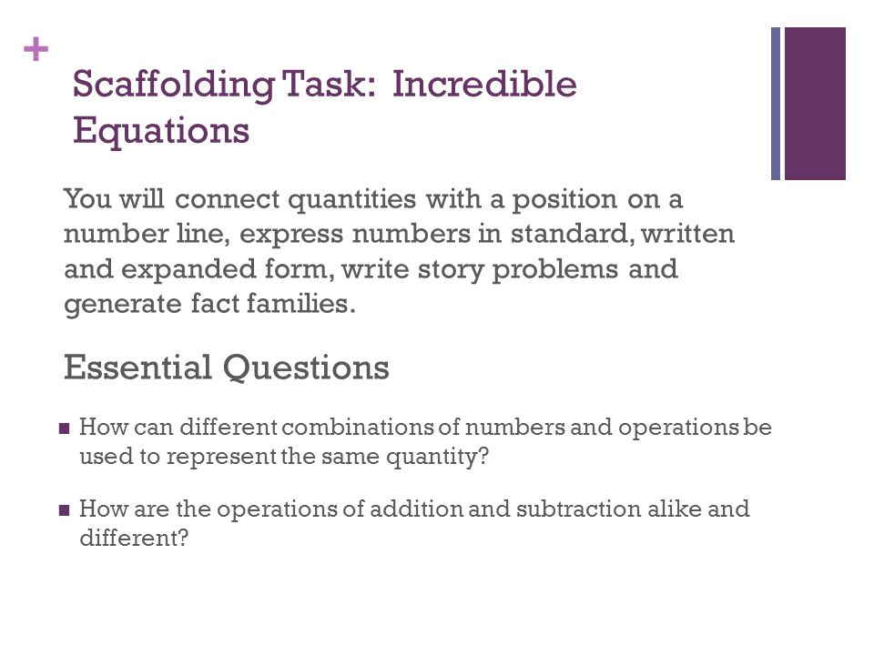 Scaffolding Task: Incredible Equations