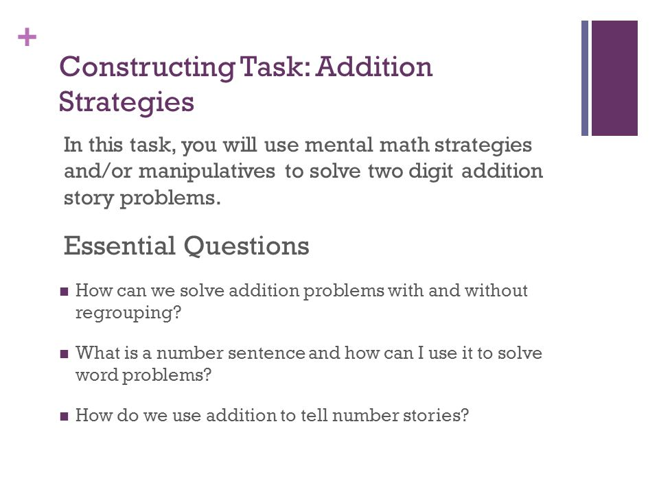 Constructing Task: Addition Strategies
