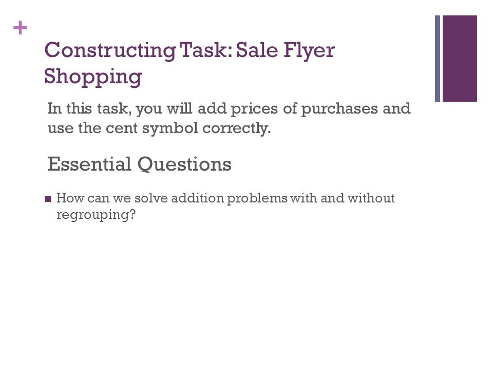 Constructing Task: Sale Flyer Shopping