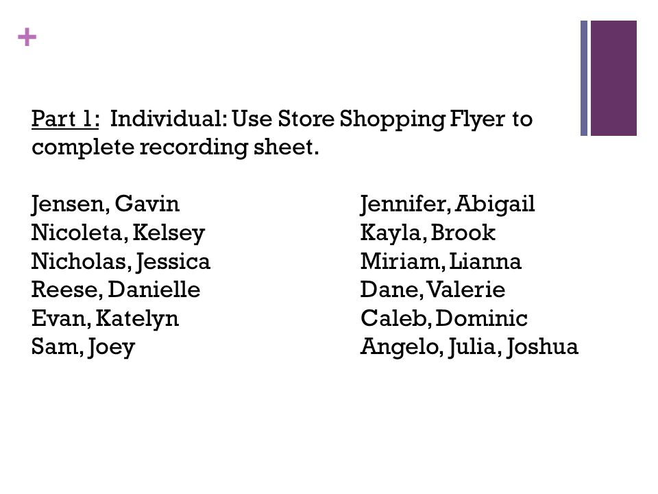 Part 1: Individual: Use Store Shopping Flyer to complete recording sheet.