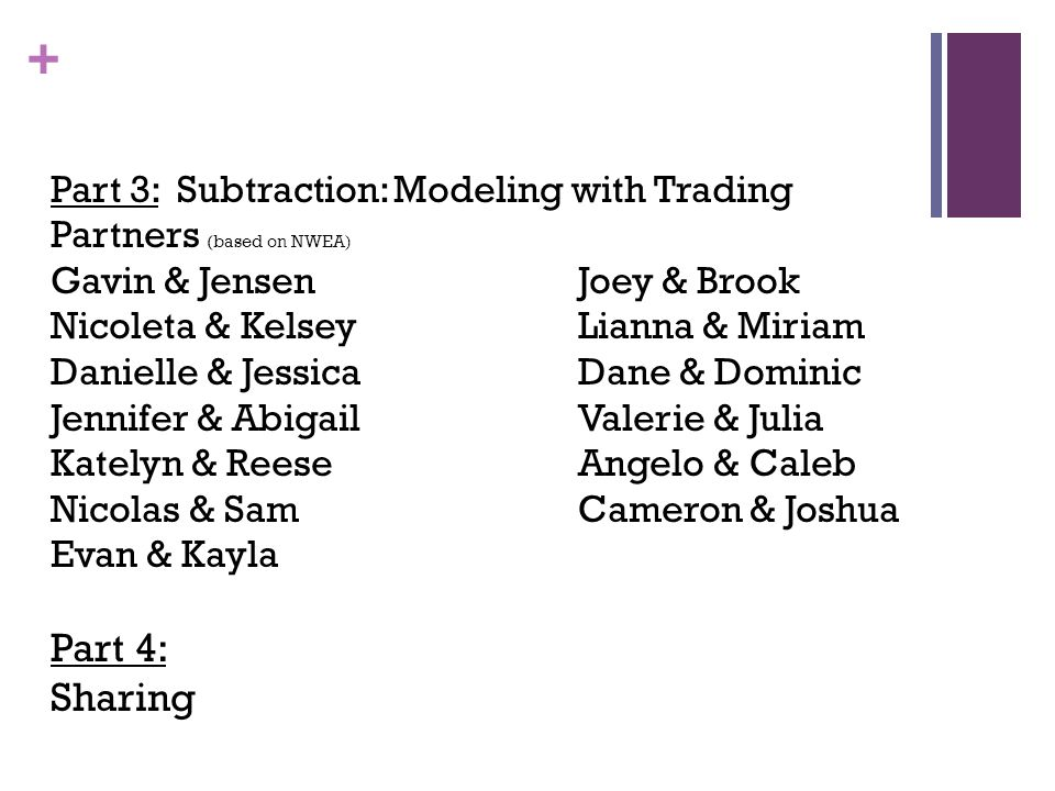 Part 4: Sharing Part 3: Subtraction: Modeling with Trading