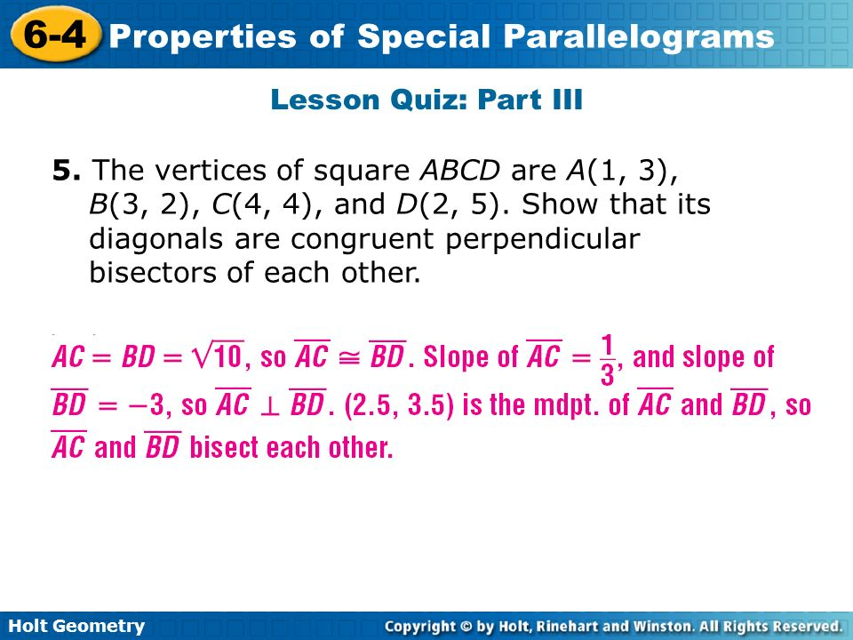 problem solving lesson 6-4 properties of special parallelograms