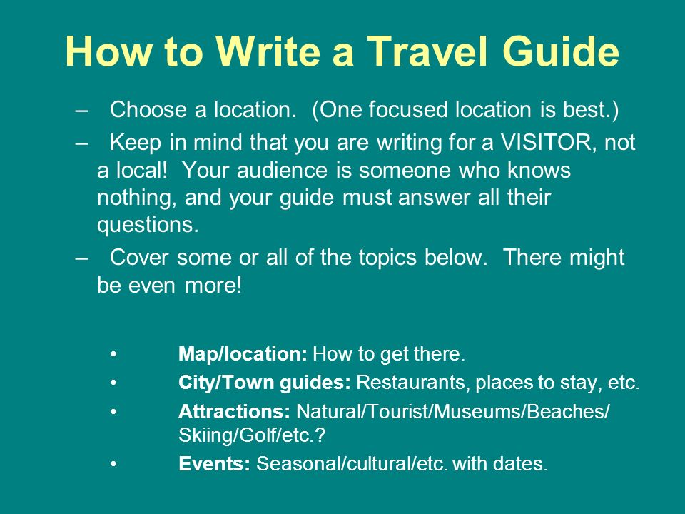 How to Begin Writing Your Guide