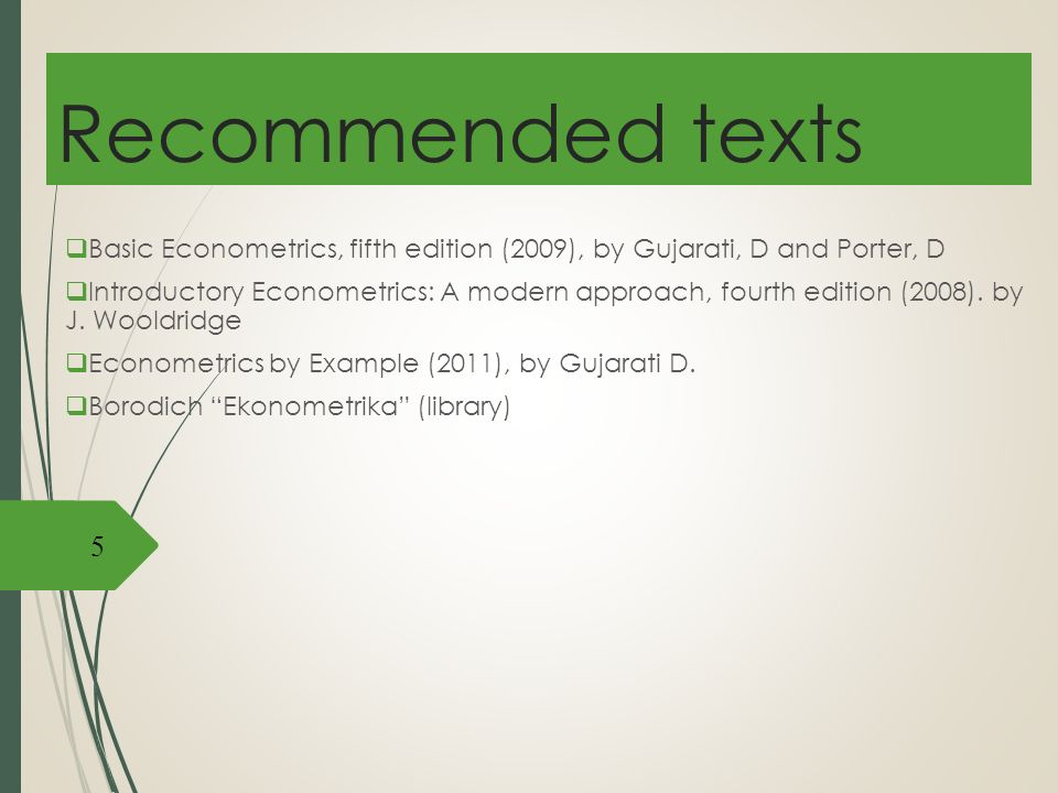 Lecture 1 introduction to econometrics ppt video online download recommended texts basic econometrics fifth edition 2009 by gujarati d and fandeluxe Gallery
