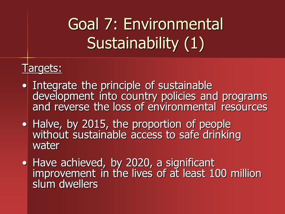 Goal 7: Environmental Sustainability (1)