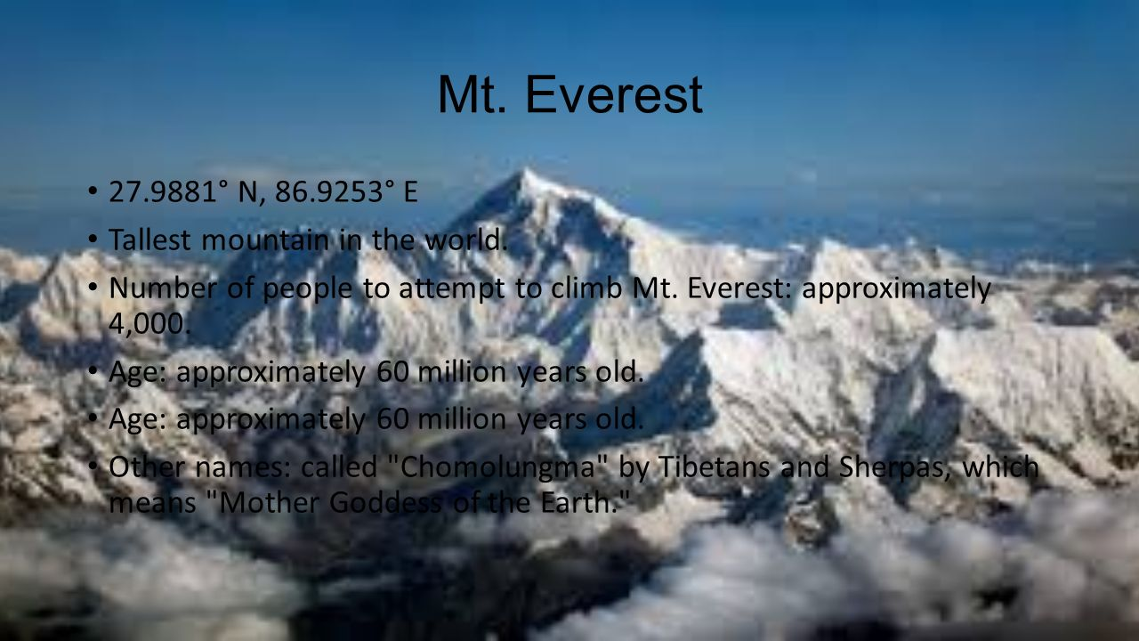 Mt. Everest ° N, ° E Tallest mountain in the world.