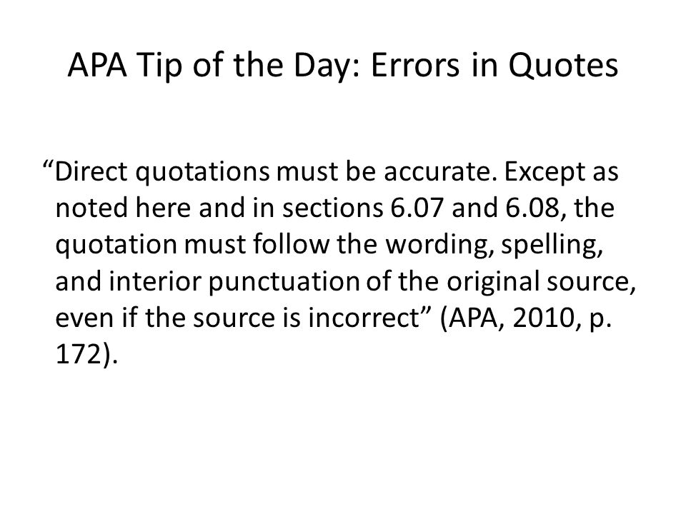 APA Tip Of The Day Quotes Ppt Download Delectable Apa Direct Quote