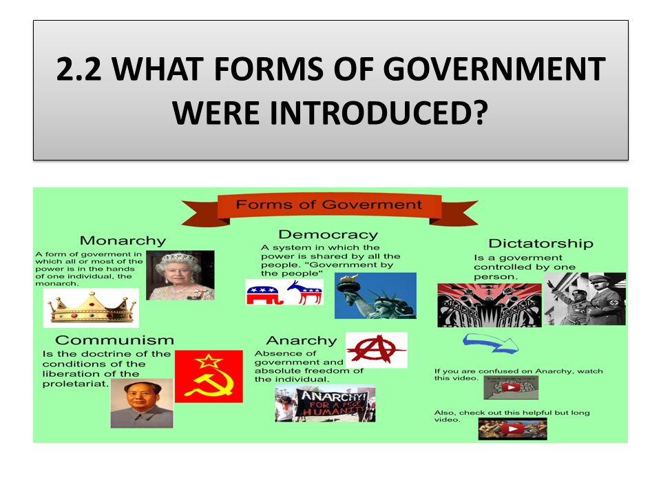 2.2 WHAT FORMS OF GOVERNMENT WERE INTRODUCED