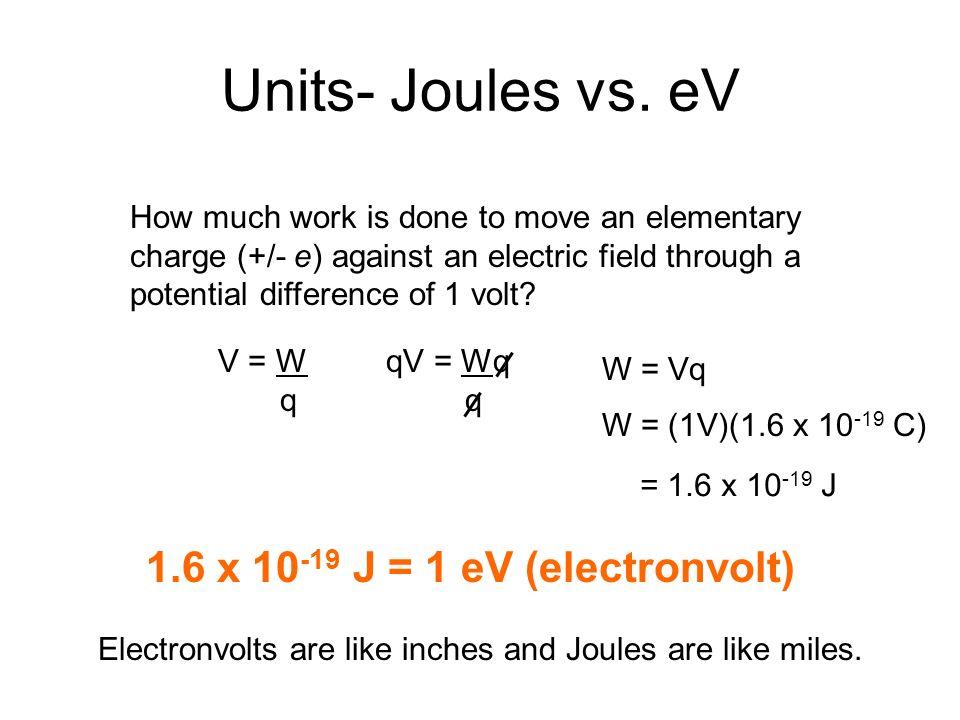 Units Joules Vs Ev 1 6 X J Electronvolt