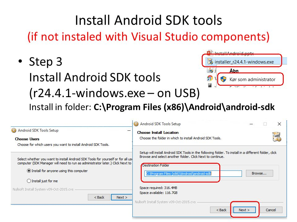 Installation of Visual Studio Android emulator and Android