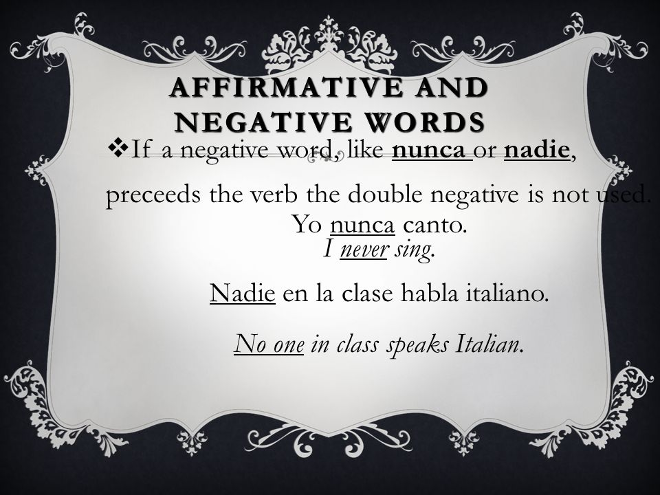 Affirmative and Negative Words