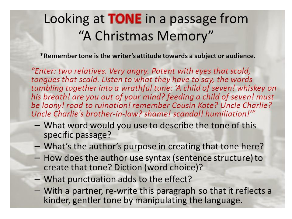 looking at tone in a passage from a christmas memory - A Christmas Memory Full Text
