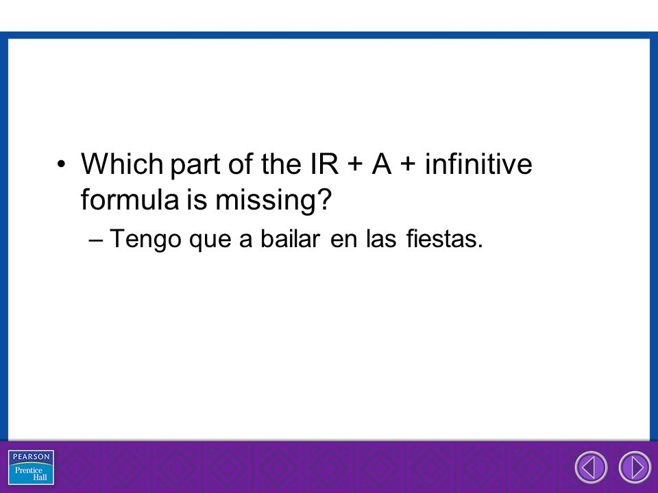 Which part of the IR + A + infinitive formula is missing