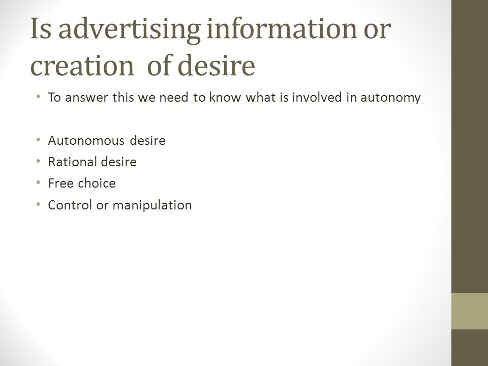advertising information or manipulation