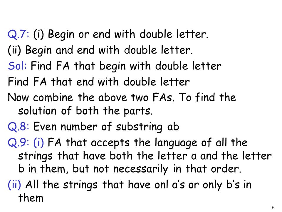 words that begin with double letters csc312 automata theory lecture 8 chapter 5 cont 25716 | Q. 7%3A %28i%29 Begin or end with double letter