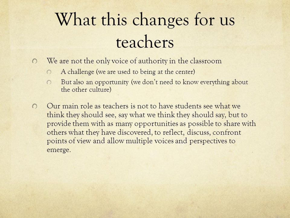 What this changes for us teachers