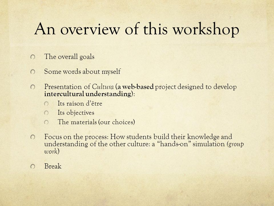An overview of this workshop