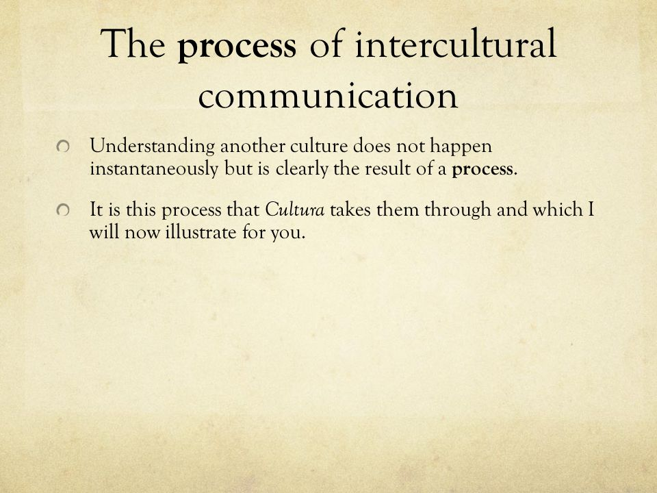 The process of intercultural communication