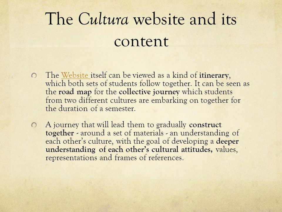 The Cultura website and its content