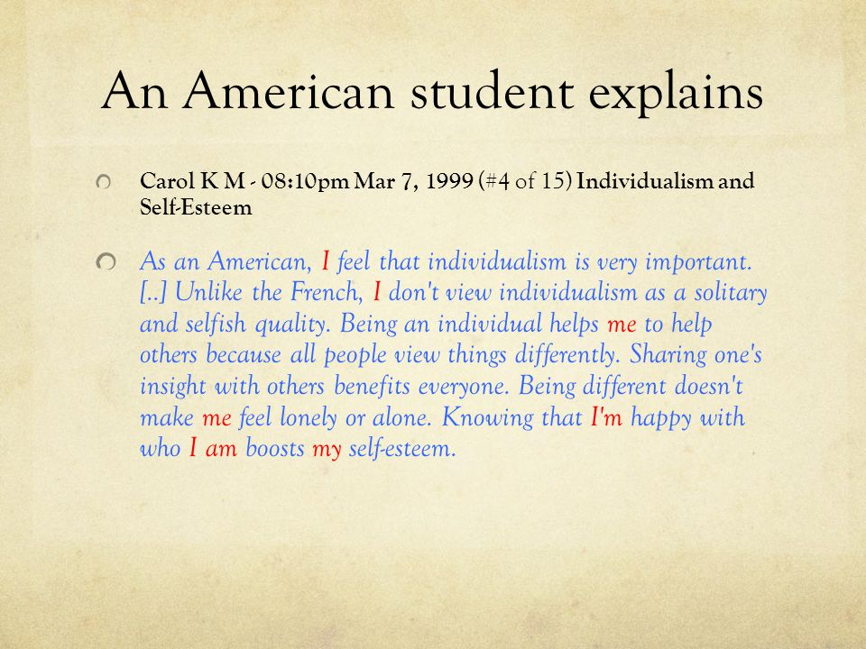 An American student explains