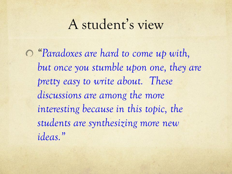 A student's view