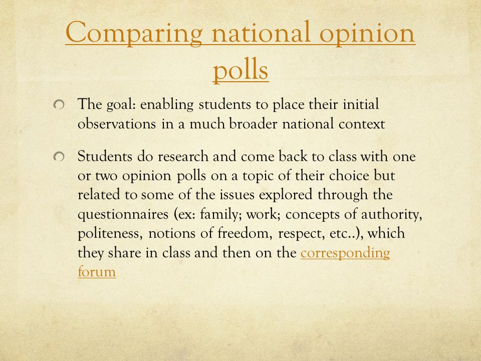 Comparing national opinion polls