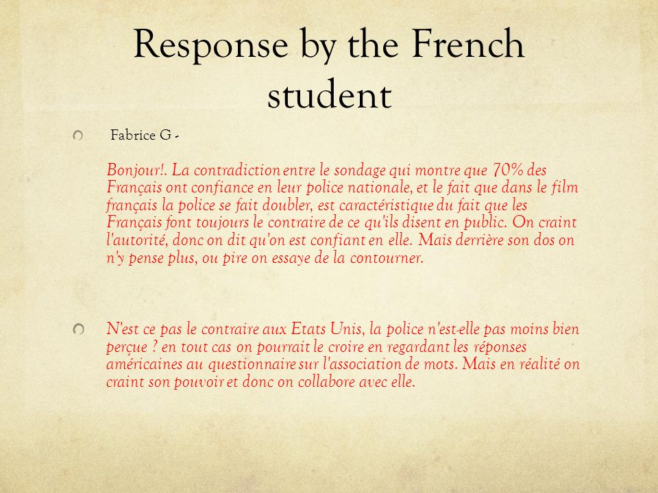 Response by the French student