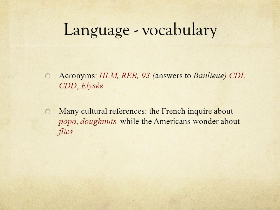 Language - vocabulary Acronyms: HLM, RER, 93 (answers to Banlieue) CDI, CDD, Elysée.