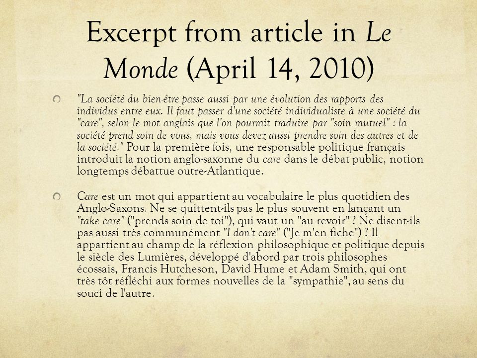 Excerpt from article in Le Monde (April 14, 2010)