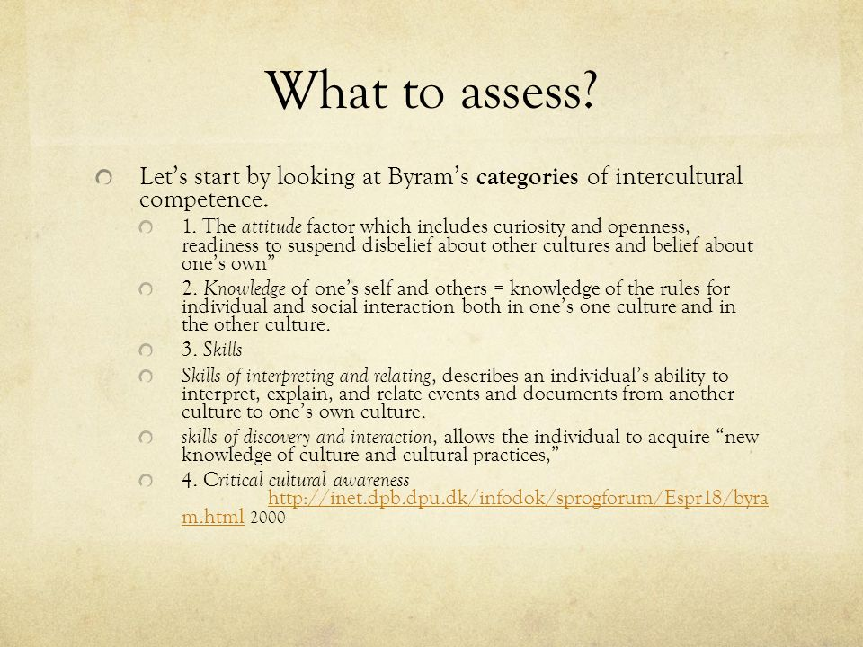 What to assess Let's start by looking at Byram's categories of intercultural competence.