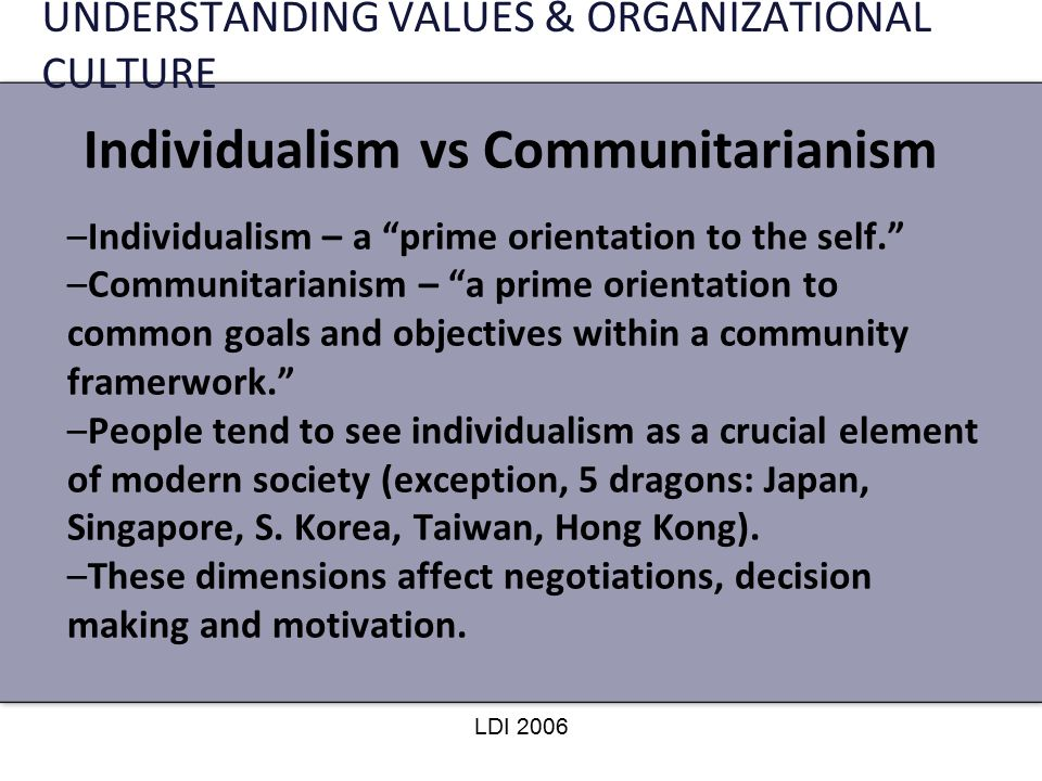 Individualism & communitarianism.