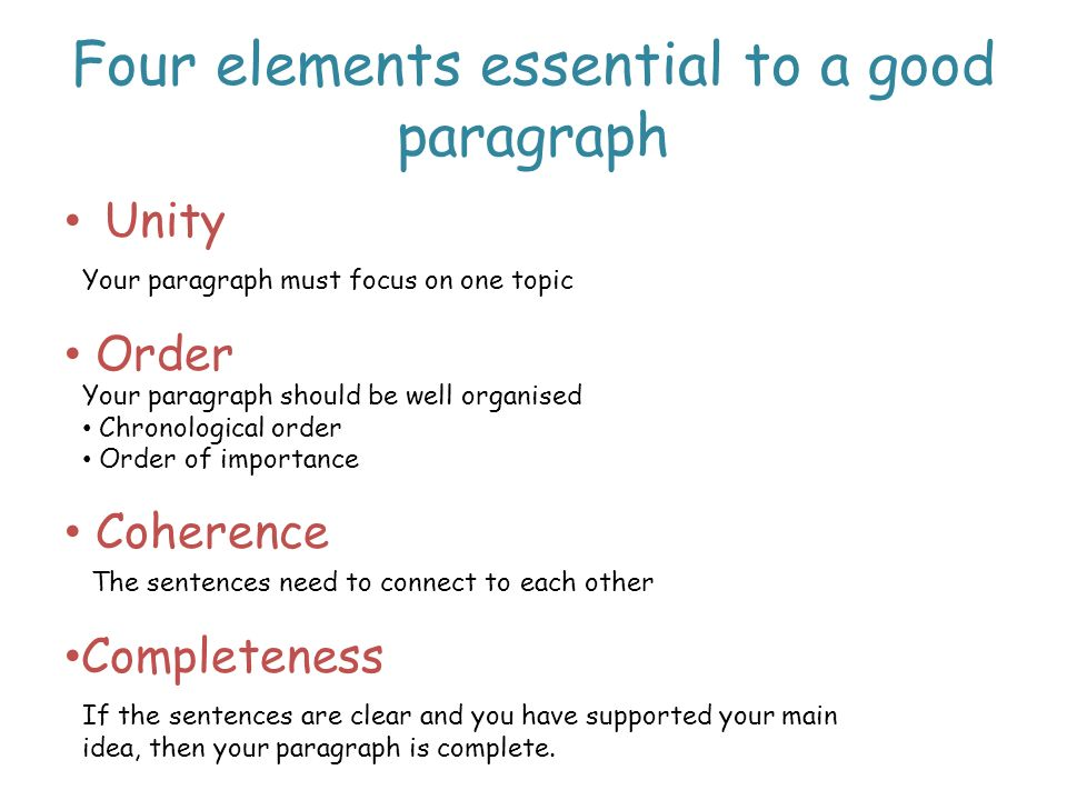 Four elements essential to a good paragraph