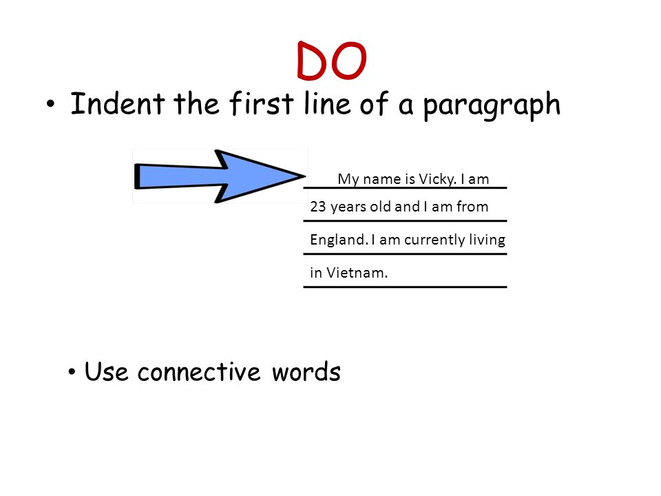 DO Indent the first line of a paragraph Use connective words
