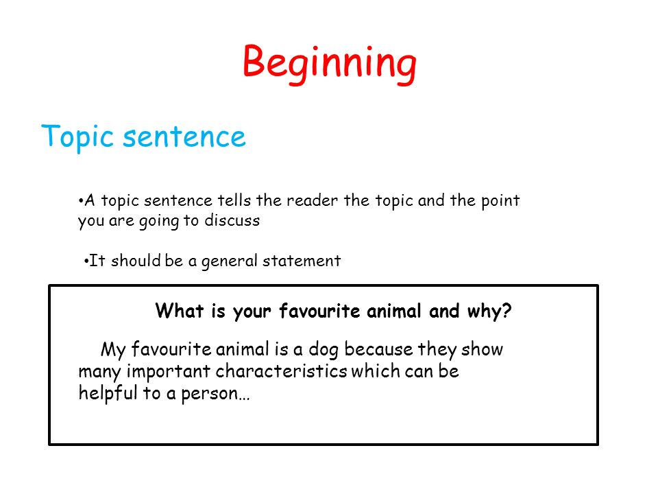 Beginning Topic sentence What is your favourite animal and why