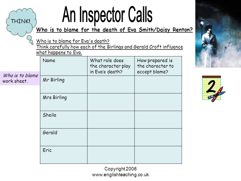 erics changes throughout an inspecter calls This video is really good for character analysis in an inspector calls eric, i would say, generally starts off as being very obedient and subservient under his father, yet he wants to be more free.
