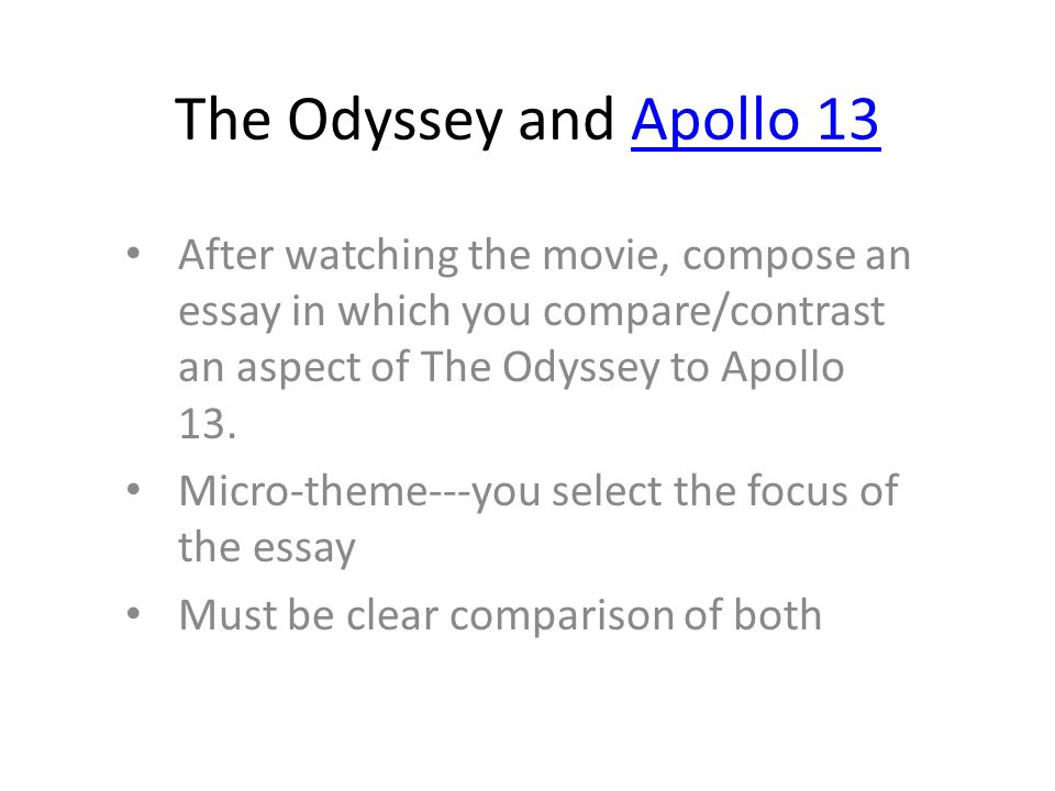 The Odyssey And Apollo  After Watching The Movie Compose An Essay  The Odyssey And Apollo  After Watching The Movie Compose An Essay In  Which You