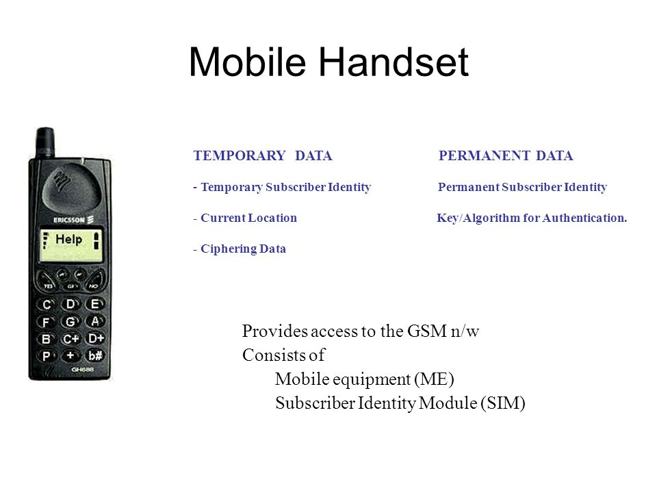 Mobile Handset Provides access to the GSM n/w Consists of