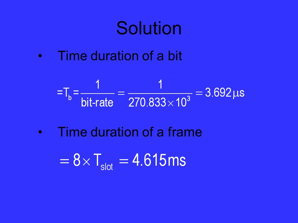 Solution Time duration of a bit Time duration of a frame