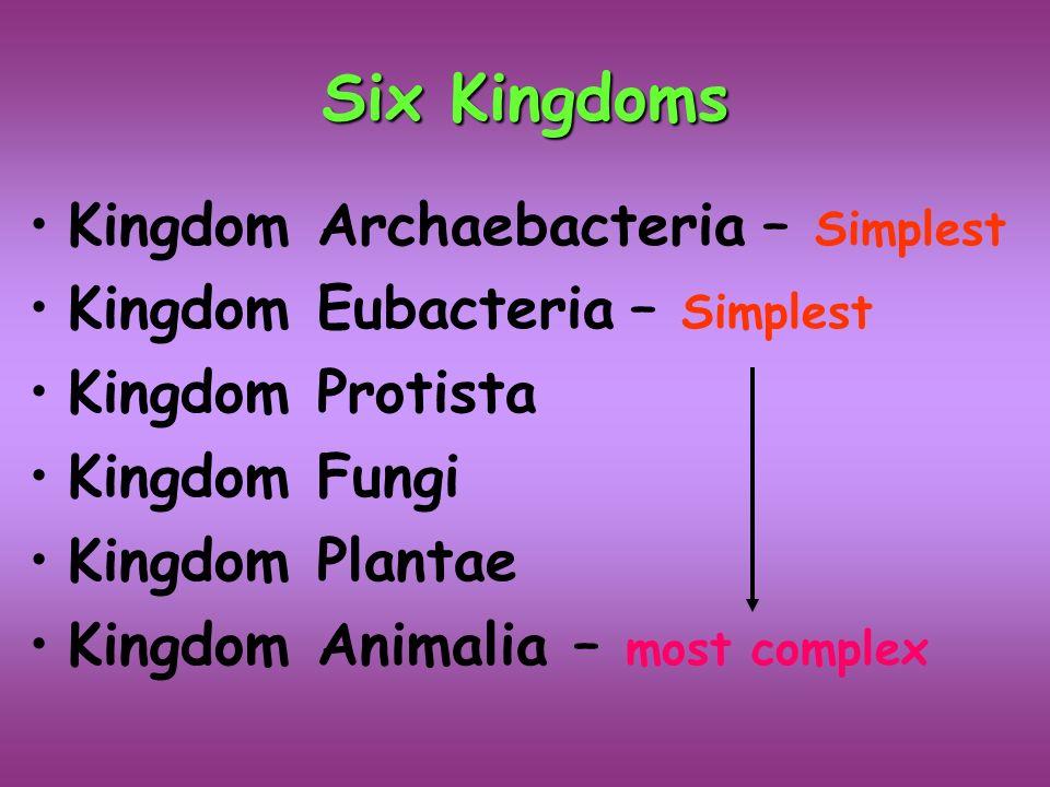 Six Kingdoms Kingdom Archaebacteria Simplest