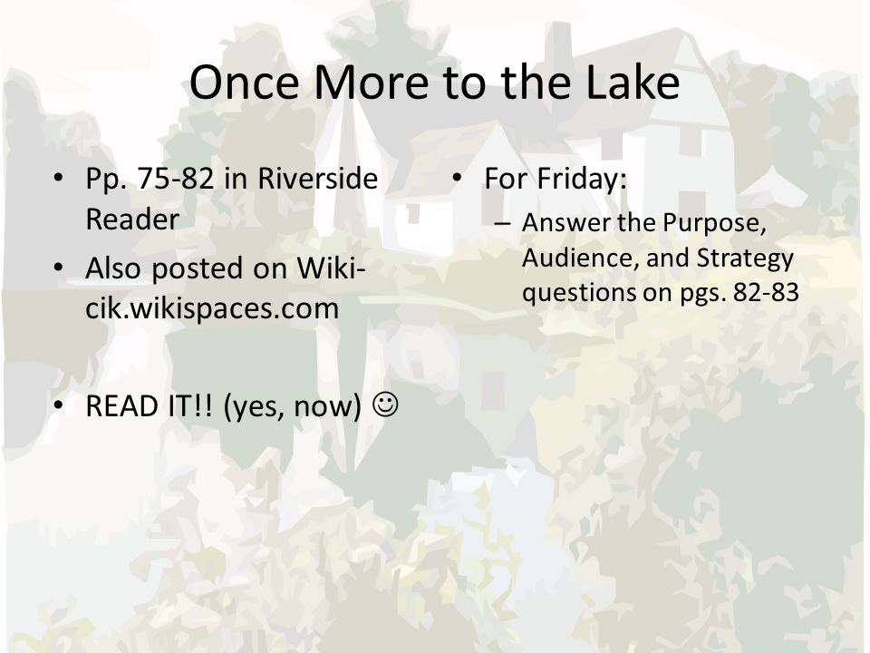 eb white once more to the lake analysis