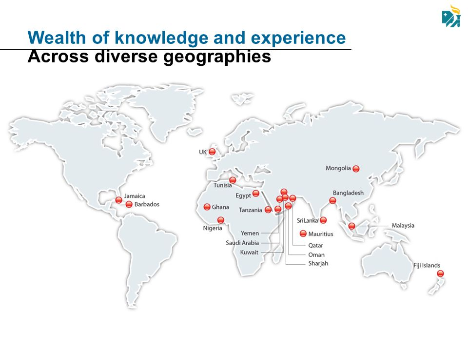 Wealth of knowledge and experience Across diverse geographies