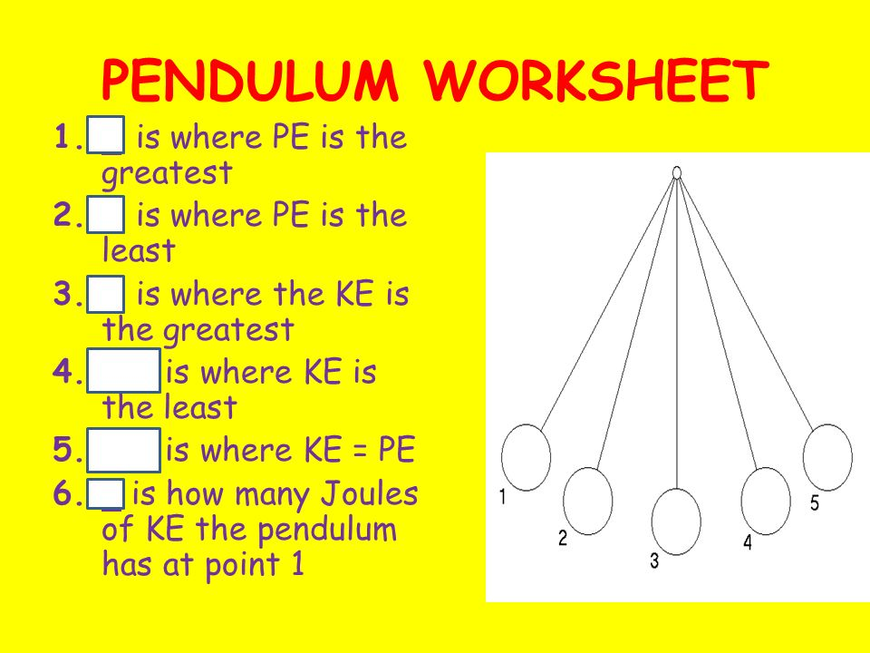 Pendulum Worksheet 1 Is Where Pe Is The Greatest Ppt Download