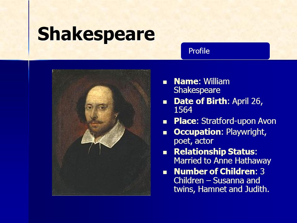 shakespeare dating profil