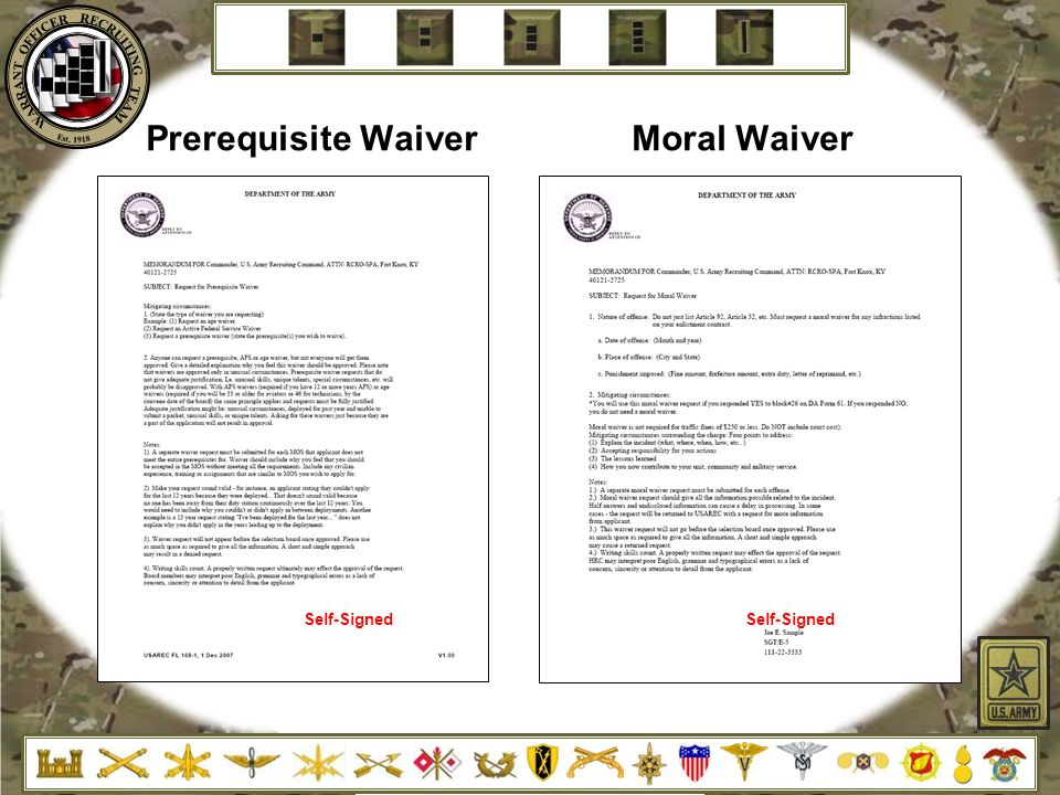 Moral waiver example