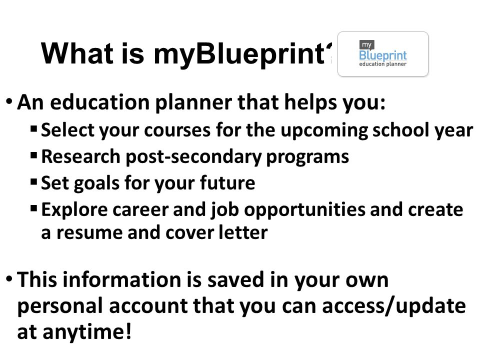 Office 365 and myblueprint ppt video online download what is myblueprint an education planner that helps you malvernweather Images