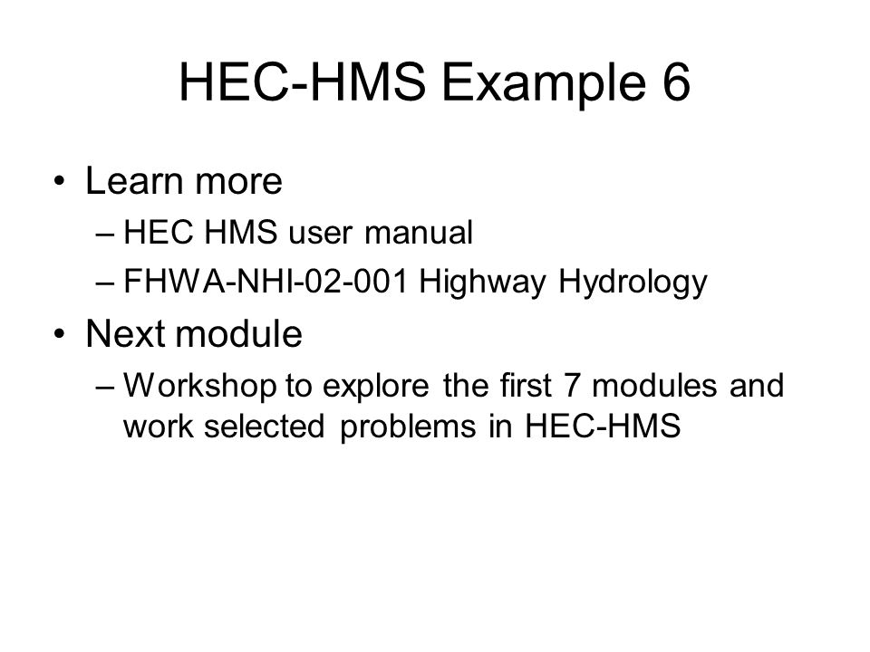 HEC-HMS Simulation Developing a Unit Hydrograph - ppt video