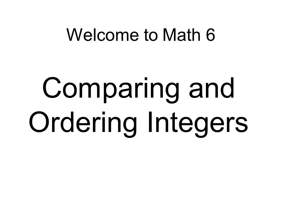 Comparing And Ordering Integers Ppt Download