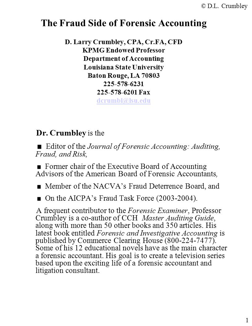 The fraud side of forensic accounting d larry crumbley cpa cr the fraud side of forensic accounting d larry crumbley cpa cr solutioingenieria Images