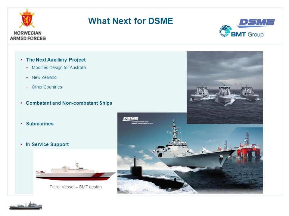 What Next for DSME The Next Auxiliary Project