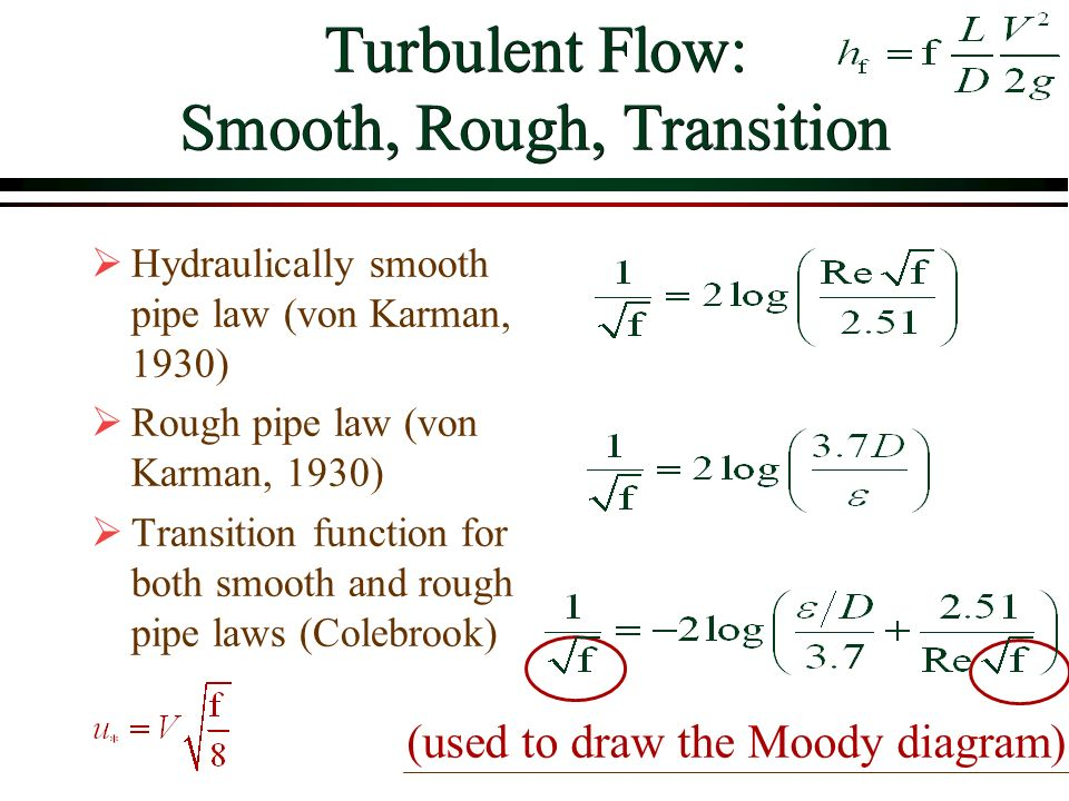 Viscous flow in pipes overview ppt video online download turbulent flow smooth rough transition ccuart Image collections